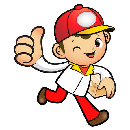 package deliverer: Red Delivery Man Mascot the right hand best gesture and left hand is holding a Box. Product and Distribution System Character Design Series.