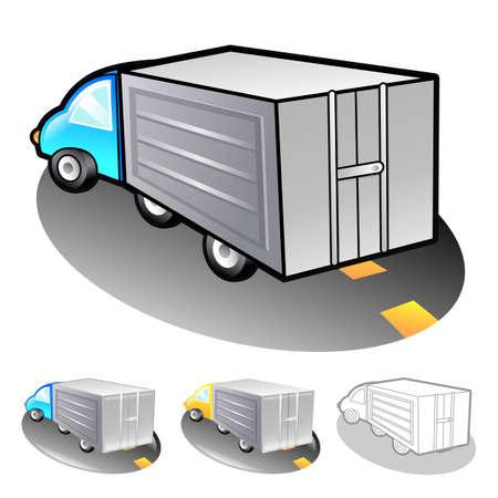 package deliverer: Illustration of delivery truck. Product and Distribution System Design Series.