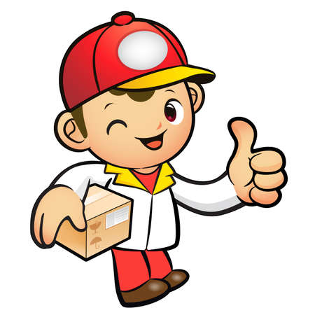 package deliverer: Red Delivery Man Mascot the left hand best gesture and right hand is holding a Box. Product and Distribution System Character Design Series.