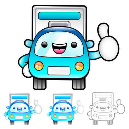 package deliverer: Delivery Truck Mascot the hand best gesture. Product and Distribution System Character Design Series.