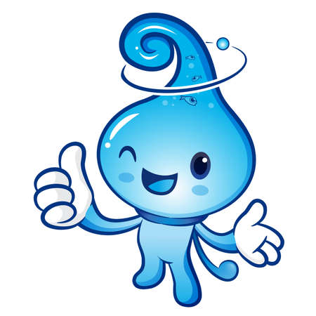 billow: Water drop Mascot the right hand best gesture and the left hand guides. Nature Character Design Series. Illustration