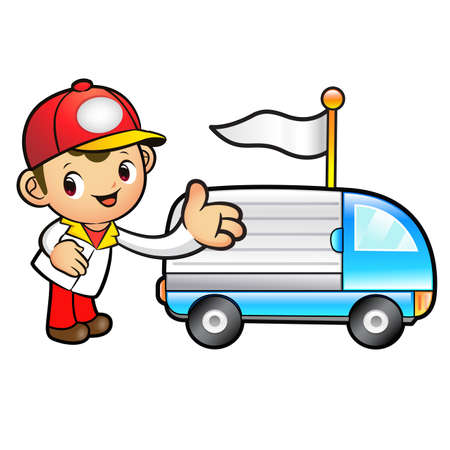 package deliverer: Red Delivery Man mascot Toward the truck convoy. Product and Distribution System Character Design Series.