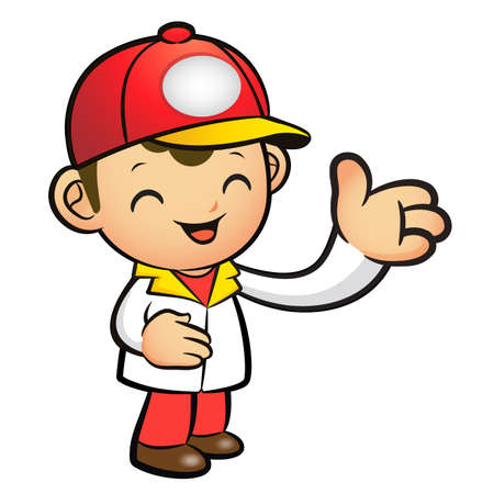 package deliverer: Red Delivery Man mascot Suggests the direction. Product and Distribution System Character Design Series.