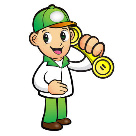 package deliverer: Green Delivery Man Mascot To answer a phone call orders. Product and Distribution System Character Design Series. Illustration