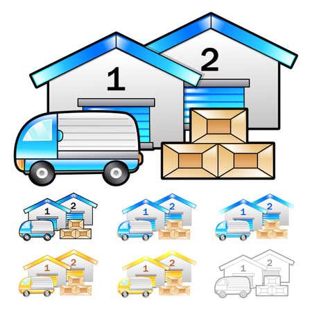 package deliverer: Warehousing of goods Illustration. Product and Distribution System Design Series.