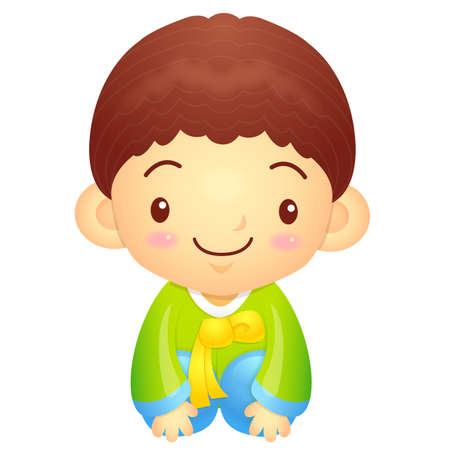 hanbok: Boys Mascot is a polite greeting. Korea Traditional Cultural character design series.
