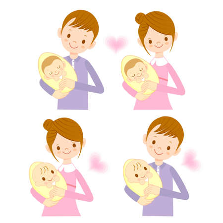 cuddle: The mother and her husband holding the baby. Marriage and Parenting Character Design Series. Illustration