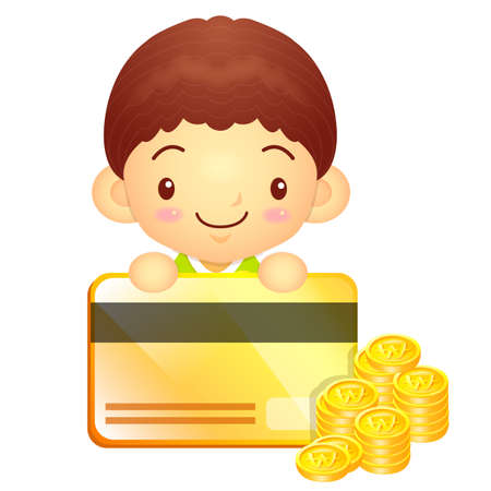 hanbok: The boy Mascot is holding a big credit card. Korea Traditional Cultural character design series.