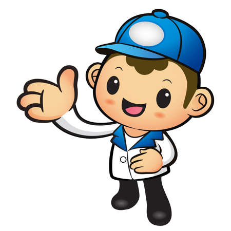 package deliverer: Blue Delivery Man mascot Suggests the direction. Product and Distribution System Character Design Series.