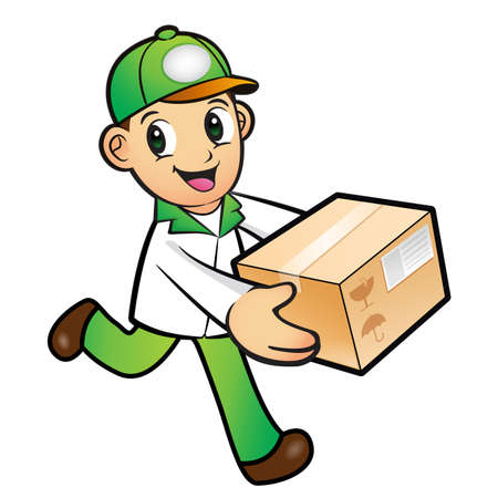 package deliverer: Green Delivery Man mascot moving a box. Product and Distribution System Character Design Series.