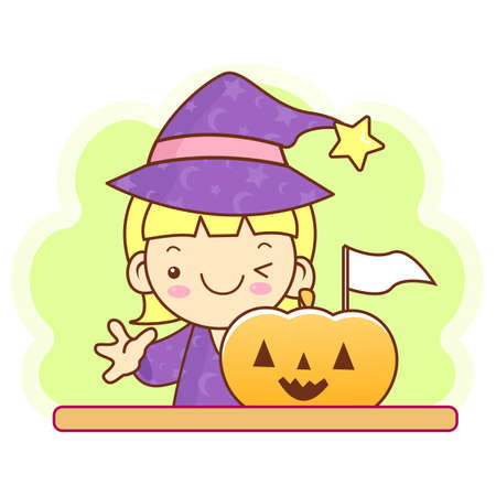 conjuring: Witch character and pumpkin. Work and Job Character Design Series. Illustration