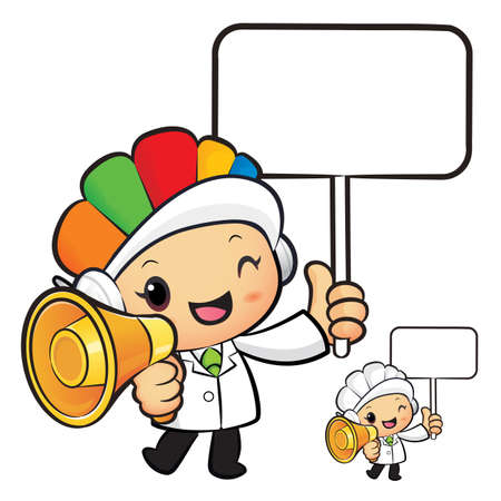 dietitian: Clinical Dietitian Mascot the  Left hand is holding a loudspeaker and picket. Work and Job Character Design Series.