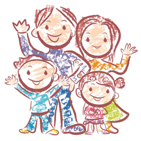 homemaker: Merry family of happy time. Home and Family Character Design Series. Illustration