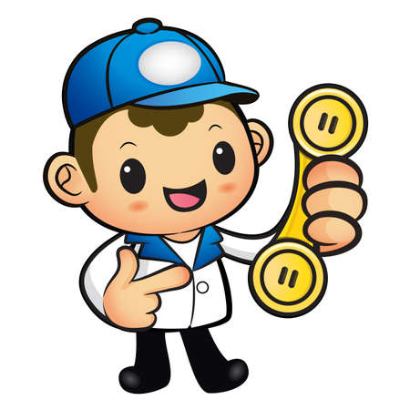 package deliverer: Blue Delivery Man Mascot To answer a phone call orders. Product and Distribution System Character Design Series.