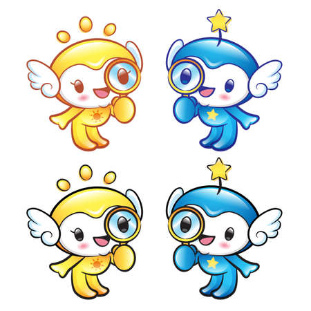 star mascot: Sun and Star mascot examine a with a magnifying glass. Nature Character Design Series.