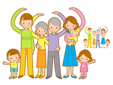 cuddle: Big family Mascot love gesture. Home and Family Character Design Series. Illustration
