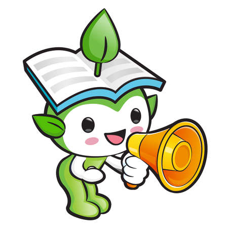 hygienist: Environmental Mascot the hand is holding a loudspeaker. Nature Fairy Character Design Series. Illustration