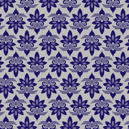 plantlife: Blue Colors Asian flower Damask Pattern. Korean traditional Pattern Design Series.