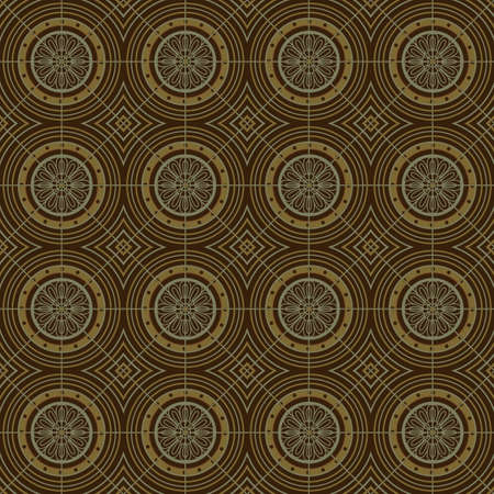 grid pattern: Brown Colors Round grid Pattern. Korean traditional Pattern Design Series.