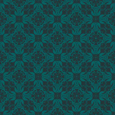 bluish: Bluish Green Colors Flower and Plant Pattern Design. Korean traditional Pattern Design Series. Illustration