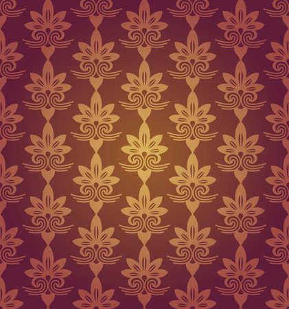 nobby: Red Brown Colors Flower Pattern Design. Korean traditional Pattern Design Series.