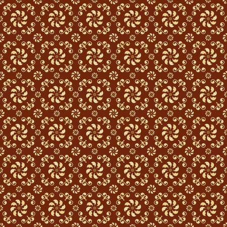 artnouveau: Yellow and Brown Colors Art Nouveau Style Plant Pattern design. Original Pattern and Symbol Series.