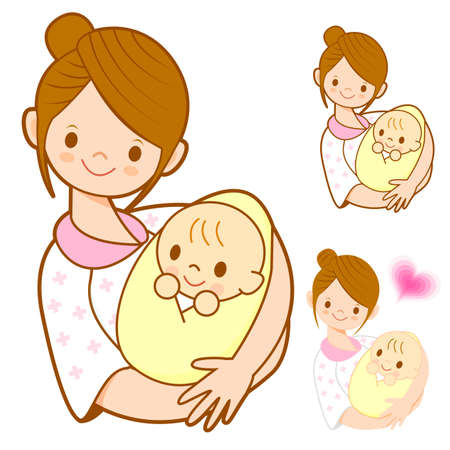 parenting: The mother holding newborn infant. Marriage and Parenting Character Design Series.
