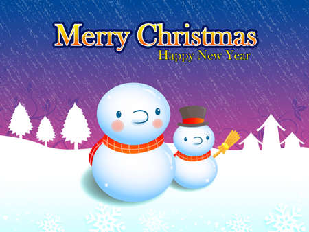 amemorial day: Card decorated with snowmen. Christmas Card Design Series