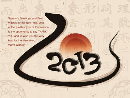 smart card: Year of the snake in 2013 new year greeting cards. New Year Card Design Series Illustration