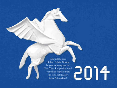 year of horse: Origami horse greeting cards. New Year Card Design Series. Illustration