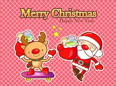 quartet: Santa and deer mascot active events. Christmas Card Design Series.