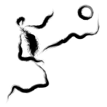 dribbling: He cut through the defense with his fancy dribbling. Calligraphy Arts Design Series. Illustration
