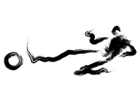 dribbled: He dribbled the ball towards the goal with speed. Calligraphy Arts Design Series.