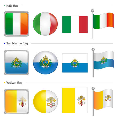 marino: Italy and San Marino, Vatican City national Icon Illustration