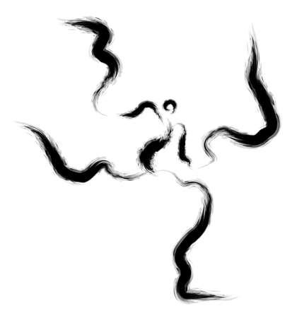 traditional dance: Korean traditional dance samulnori calligraphy Arts. 2D Calligraphy Arts Design Series.