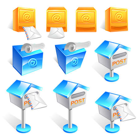 pillar box: Variety of mailbox and the letter Icon sets.  Creative Icon Design Series.