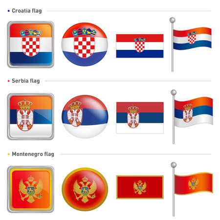 serbia and montenegro: Croatia and Serbia, Montenegro Flag Icon. The world national Icon Design Series. Illustration