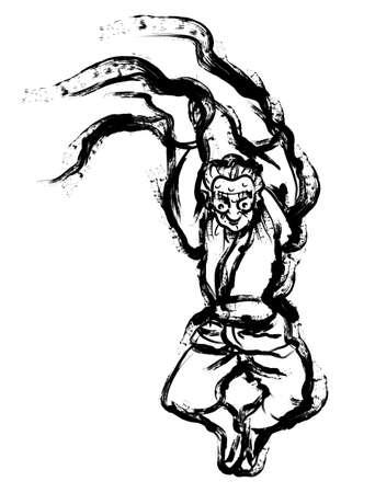quartet: Korean traditional mask dance Calligraphy Arts. 2D Calligraphy Arts Design Series.