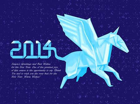 quartet: Origami horse greeting cards. New Year Card Design Series. Illustration
