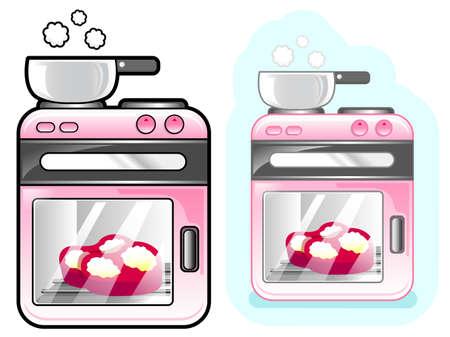 household goods: Diverse styles of Oven Sets. Appliances Items Vector Icon Series. Illustration