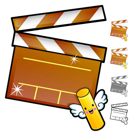 Diverse styles of Slate and Movie Sets. Household Items Vector Icon Series.