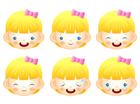 intolerable: Various facial expressions of kids. Emotion Character Design Series. Illustration