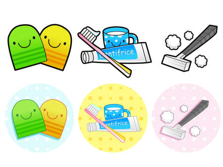 toiletries: Different styles of Toiletries Sets. Household Items Vector Icon Series. Illustration