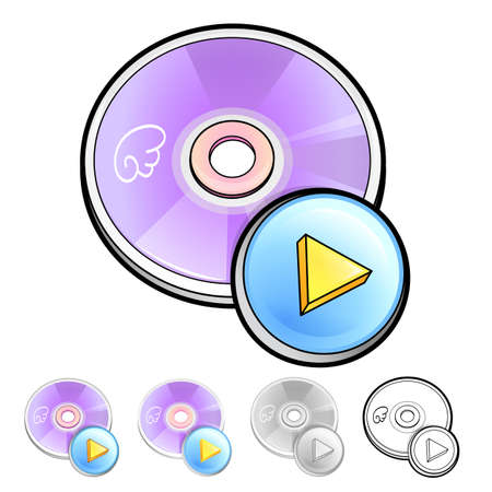 blueray: Various styles of Compact Disk Sets. Household Items Vector Icon Series.