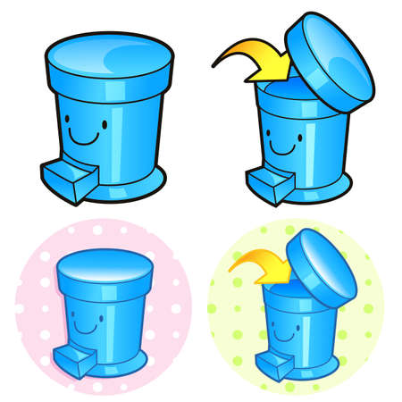 household goods: Various styles of Wastebasket Sets. Household Items Vector Icon Series.