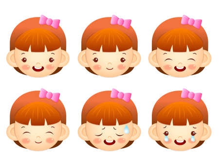 perspiration: Various facial expressions of kids. Emotion Character Design Series. Illustration