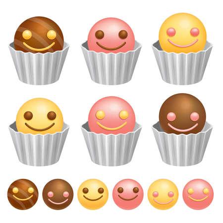 airiness: Smile Chocolate Ball. Valentine Icon Design Series.