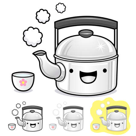 teakettle: Diverse styles of kettle and teakettle Sets. Kitchen utensils Vector Icon Series.