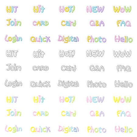 fundamentals: The Variety of pastel colors alphabet sets. Calligraphy art Vector Icon Series.