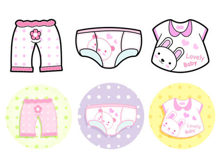 merchandise mart: Different styles of Tshirt and Pants, Sets. Baby and Children Goods Vector Icon Series. Illustration